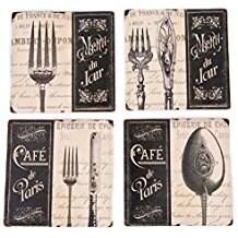 Palais Dinnerware Ceramic 4 inch Square Coasters, Set of 4 Cafe De Paris