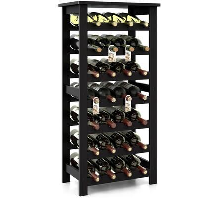 7-Tier Wooden Wine Rack,28 Bottles Capacity Storage - N/A