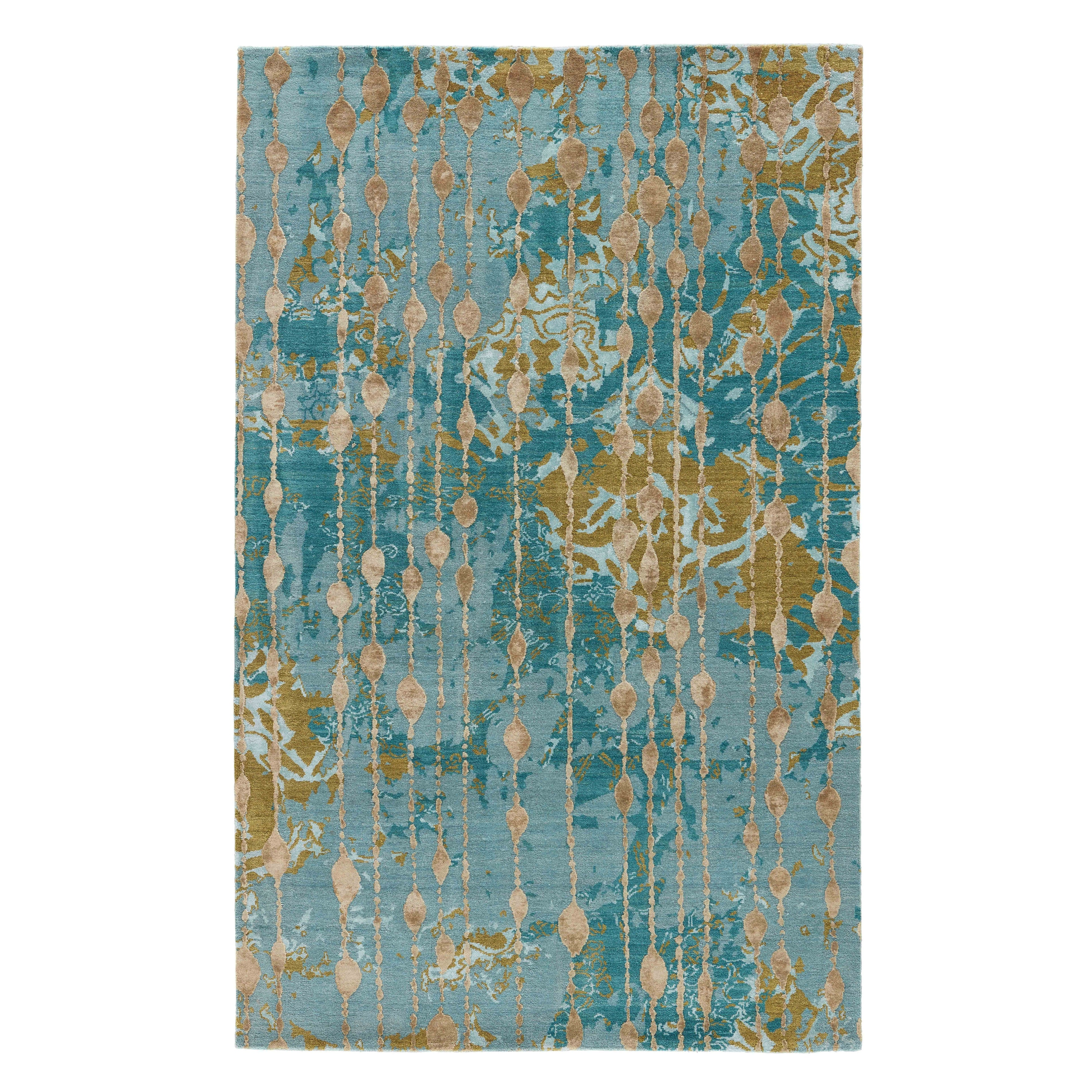 Hand Knotted Abstract Blue Area Rug Overstock 8576817