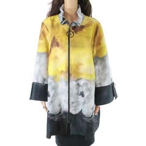 IC Women's Jacket Yellow Blue Size 3X Plus Front Zipper Ombre Crepe