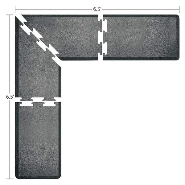 WellnessMats Puzzle Piece Collection 6.5 X 6.5 X 2 Feet, 4 Piece L Series Anti-Fatigue Office & Kitchen Mat Set, Granite Steel