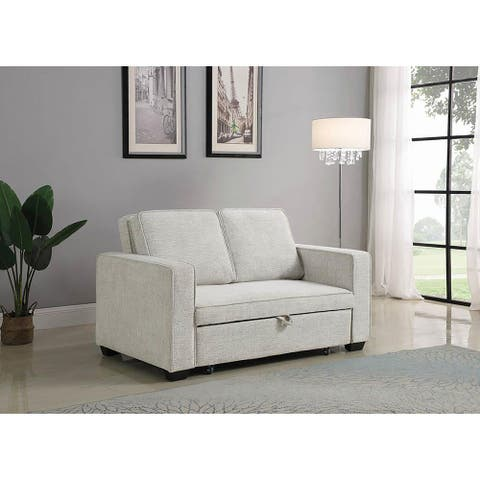 Dhrousha Beige Linen Sleeper Sofa Bed