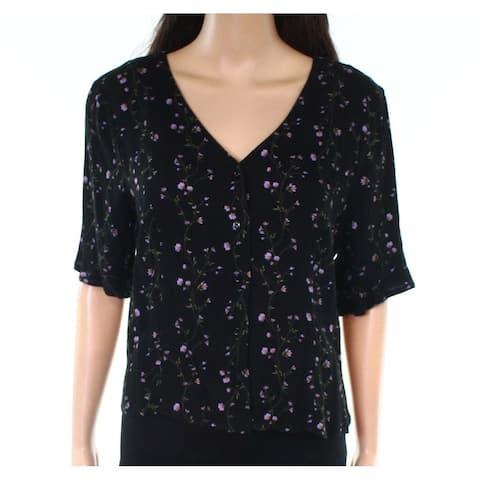 Elodie Black Womens Size Large L Floral-Print Tie-Back V-Neck Top