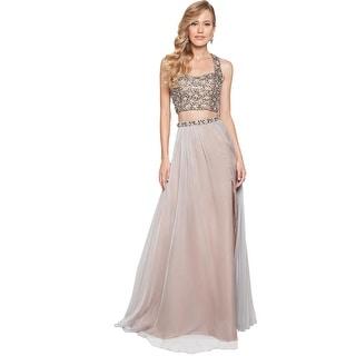 Terani Couture Chiffon Embellished Crop Top Dress