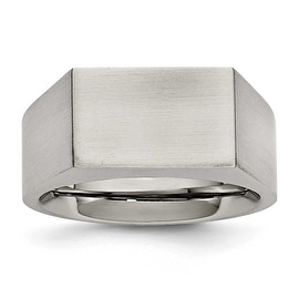 Chisel Stainless Steel Polished and Brushed Signet Ring