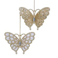 Club Pack of 24 Clear and Platinum Glitter Butterfly with Clear Gem Stone Christmas Ornaments 3.13""