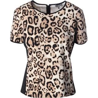 Vince Camuto Womens Contrast Trim Hidden Back Zipper Pullover Top