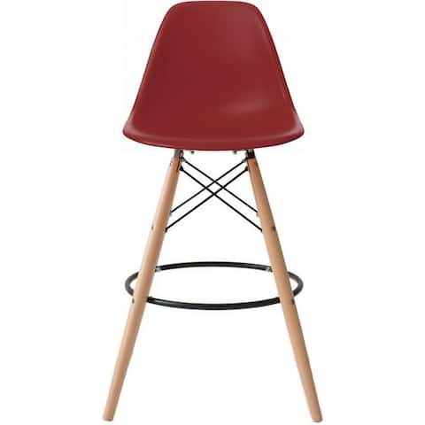 2xhome 25 inch Seat Designer DSW Counter Stool Barstool With Backs Molded High Chair Kitchen Eiffel Wooden Work Armless Work