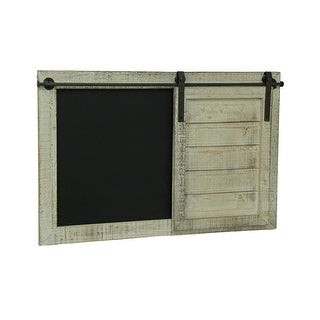 Whitewashed Finish Barn Door Chalkboard Message Board - Black