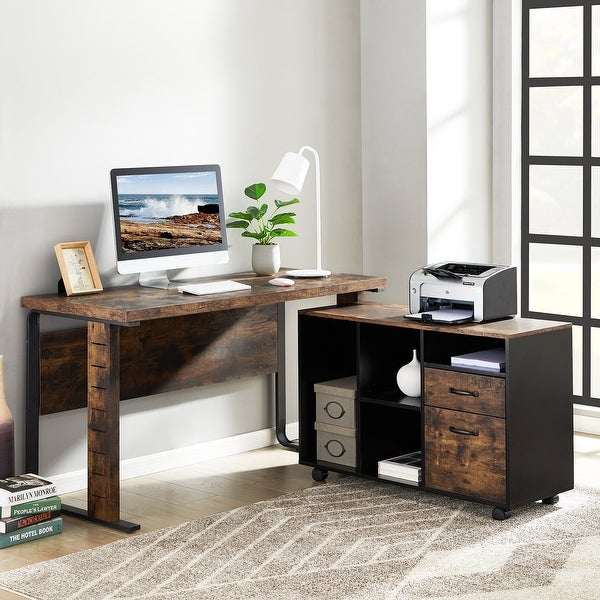 L-Shaped Desk, Reversible Executive Office Desk with Letter Size File Cabinet for Home Office. Opens flyout.