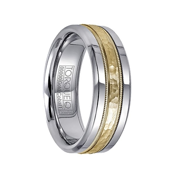 Hammered 14k Yellow Gold Inlaid Milgrain White Cobalt Men's Wedding  Band by