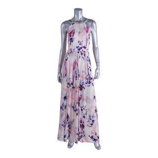 Phoebe Womens Silk Blend Floral Print Party Dress
