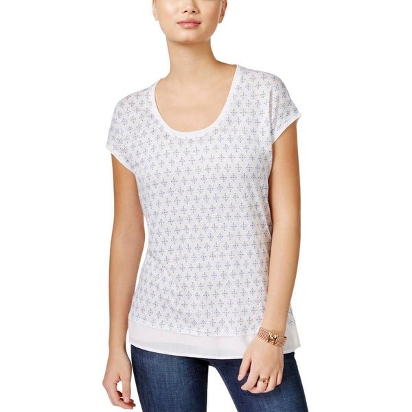 Tommy Hilfiger Womens Casual Top Linen Pattern