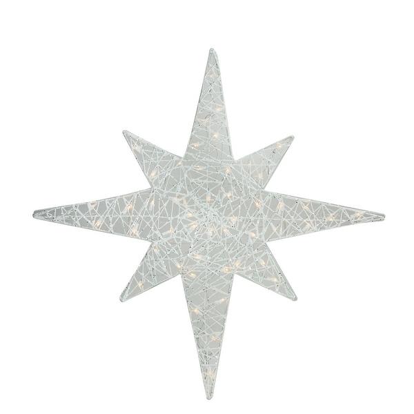 """36"""" Lighted White Glitter Star of Bethlehem Christmas Outdoor Decoration"""