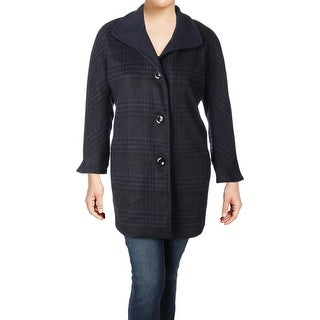 Ellen Tracy Womens Plus Car Coat Winter Wool Blend