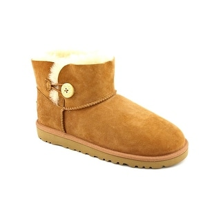 Ugg Australia Mini Bailey Button Youth Round Toe Suede Brown Winter Boot