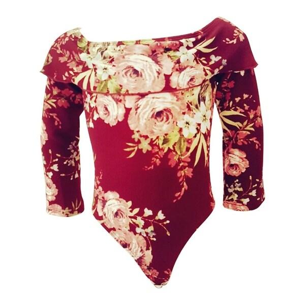 3f6615c319 Shop Girls Burgundy Rose Flower Print Off-Shoulder Long Sleeve Leotard - Free  Shipping On Orders Over  45 - Overstock - 25542713