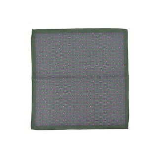Altea Men's Silk Green Geometric Print Pocket Square - S