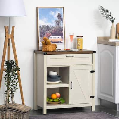 HOMCOM Rustic Barn Door Storage Cabinet/Modern Farmhouse Buffet Sideboard for Kitchen & Dining Room