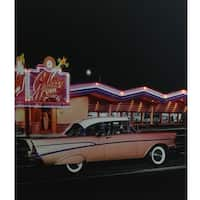 """LED Lighted Coral Pink 1957 Chevy Bel Air in Front of a Diner Canvas Wall Art 23.5"""" x 19.75"""""""