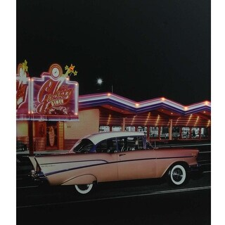 "LED Lighted Coral Pink 1957 Chevy Bel Air in Front of a Diner Canvas Wall Art 23.5"" x 19.75"""