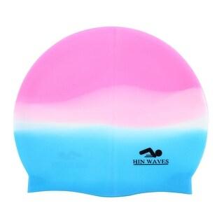 Unique Bargains Elastic Mixed-color Silicone Swimming Cap Swim Hat For Adult Men Women
