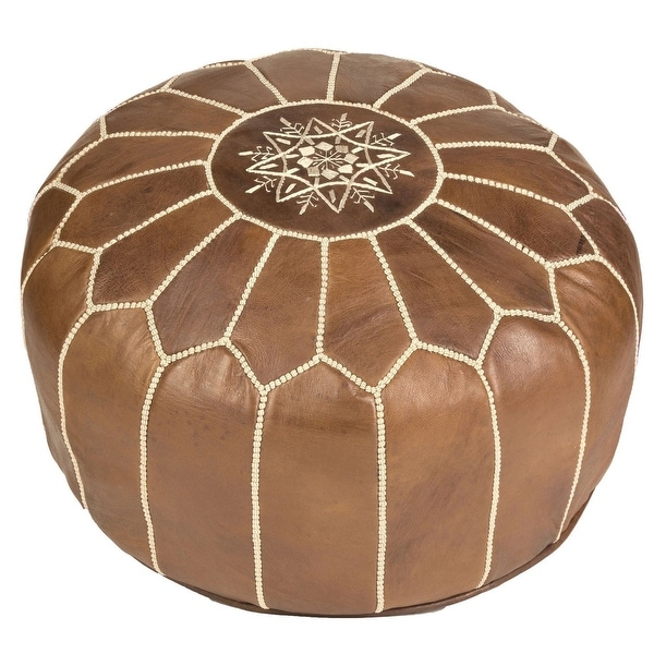 Handmade Leather Pouf Ottoman (Morocco). Opens flyout.