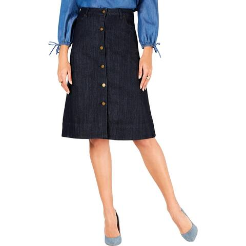MICHAEL Michael Kors Womens Denim Skirt Button-Down Knee-Length