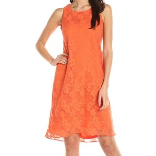 Nine West NEW Orange Womens Size 6 Floral Overlay Textured Shift Dress