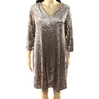 Alfani NEW Beige Women's Size 6 V-Neck Sequin Embellished Shift Dress