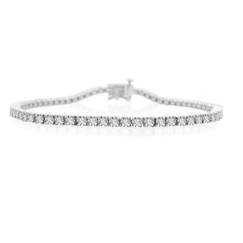 "925 Sterling Silver 1.00 Carat Diamond Straight Link Diamond Bracelet - 7.25"" for Women"