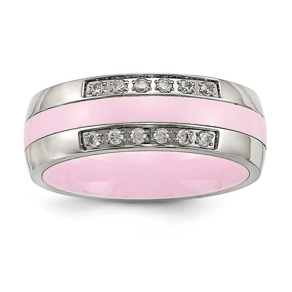 Stainless Steel Polished Pink Ceramic CZ Ring (7 mm)