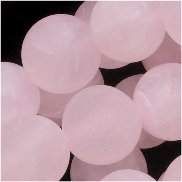 Matte Rose Quartz Gemstone Round Pink Beads 8mm (15.5 Inch Strand)