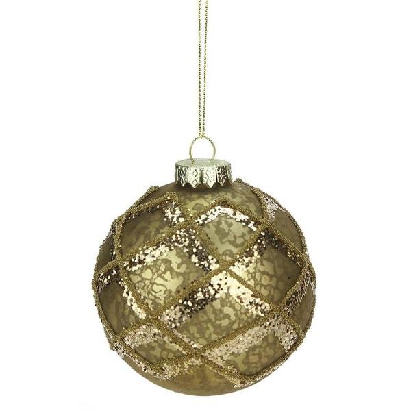 "3.5"" Rich Elegance Mercury Glass Gold Glittered Diamond Christmas Ball Ornament"