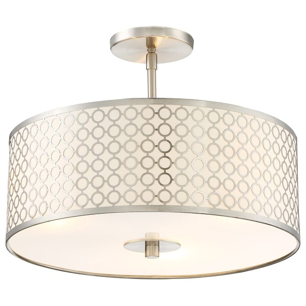 Kovacs P1267-084 3 Light Full Sized Pendant from the Dots Collection - Brushed nickel