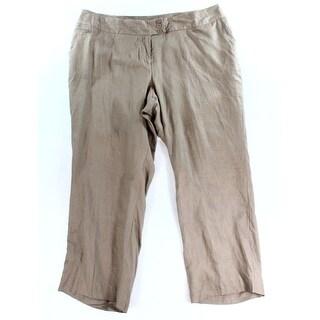 Grace Elements NEW Brown Women's Size 24W Plus Linen Seamed Solid Pants