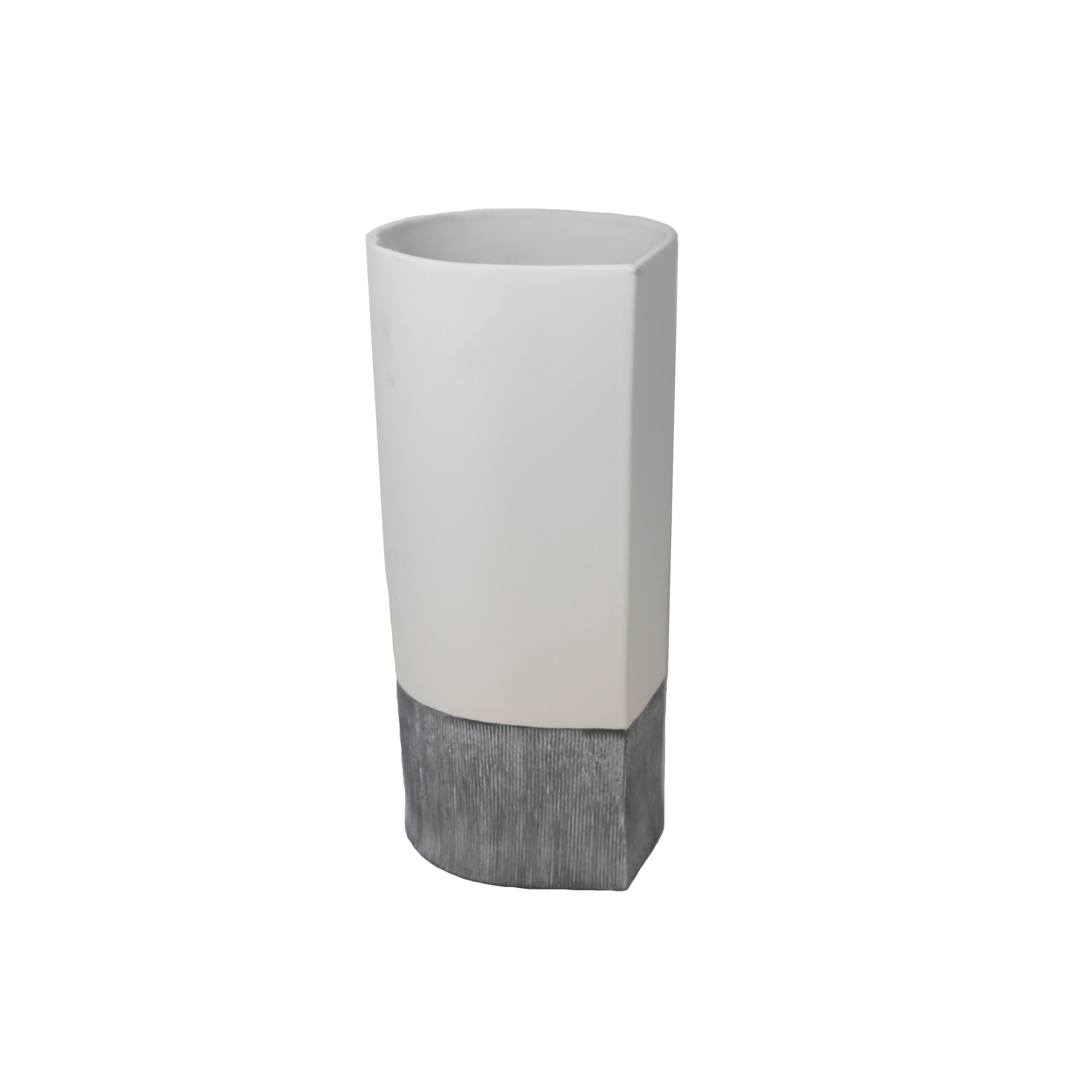 Ceramic Two Tone Vase With Wide Open Mouth And Small Base, Large, White and Gray