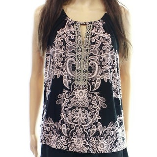 INC NEW Pink Black Print Women's Size Small S Tank Cami Embellished Top
