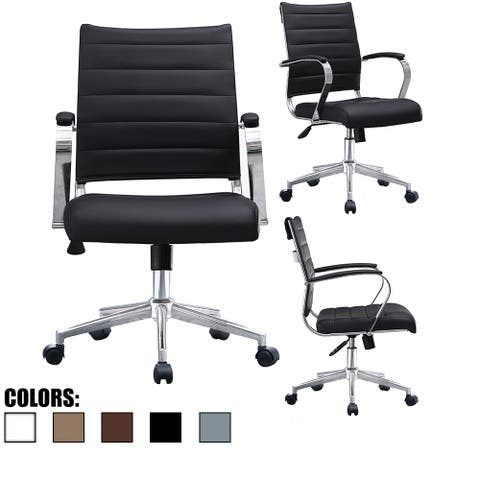 2xhome - Modern Mid Back Ribbed PU Leather Swivel Tilt Adjustable Cushion Chair Designer Task Executive Manager Office