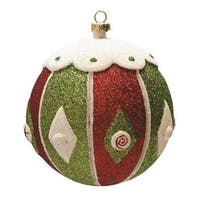 "Merry & Bright Red, White and Green Glitter Shatterproof Christmas Ball Ornament 4"" (100mm)"