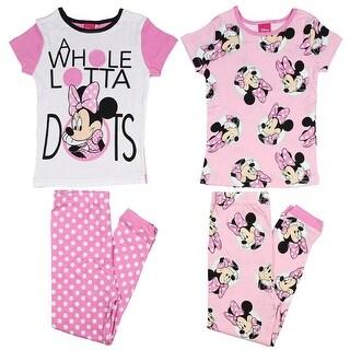 Disney Girls' Minnie Mouse 4-Piece Cotton Pajama Set Whole Lotta Dots
