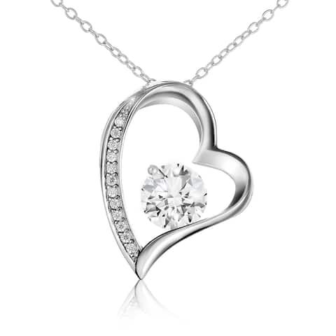 "Sterling Silver Cubic Zirconia Open Heart Pendant Necklace 18""- Lusoro"