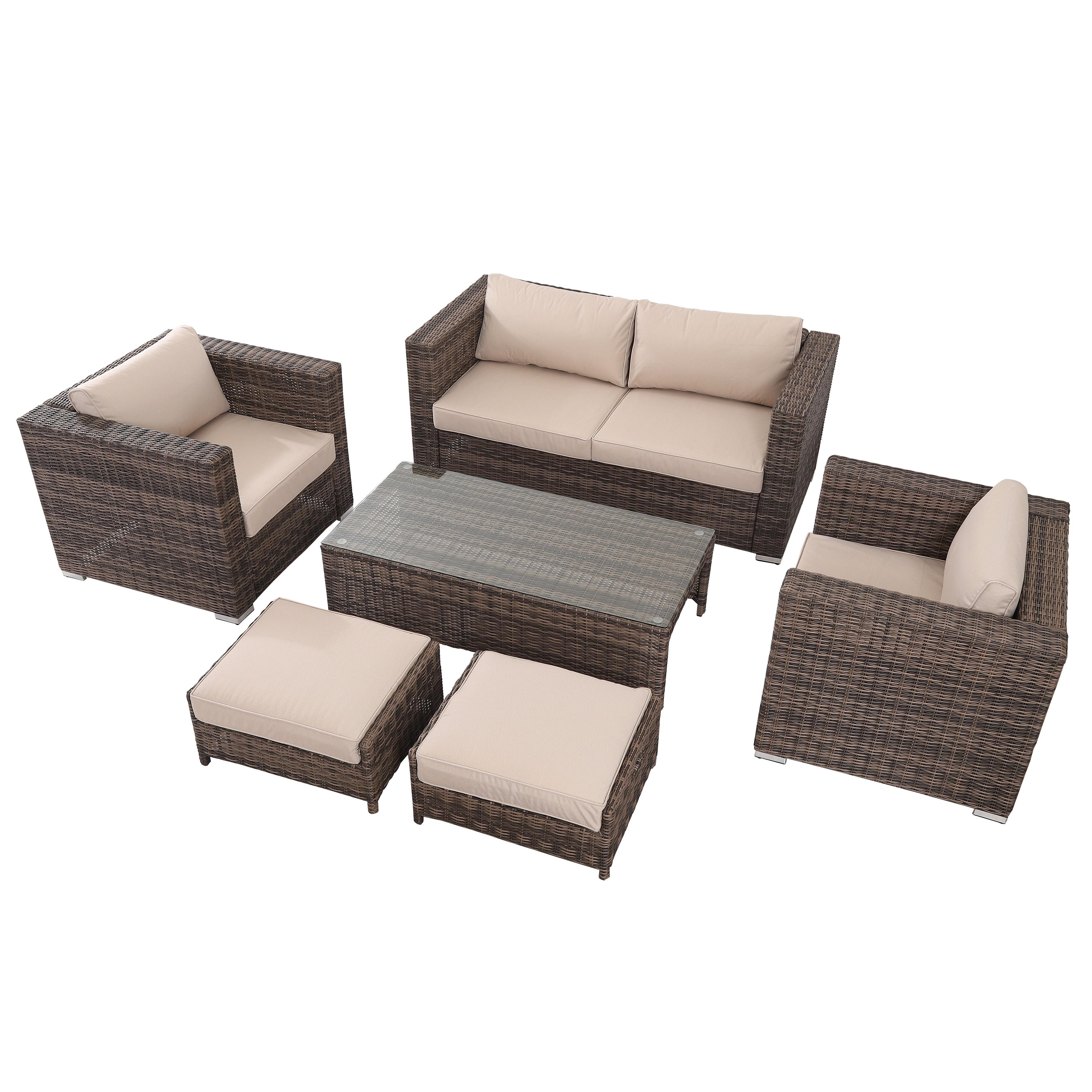 6 Pieces Outdoor Patio Wicker Sofa