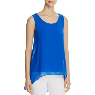 Calvin Klein Womens Casual Top Chiffon Overlay Hi-Low