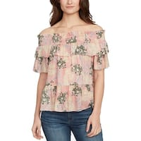 William Rast Pink Womens Size XS Ruffle Floral Off Shoulder Blouse