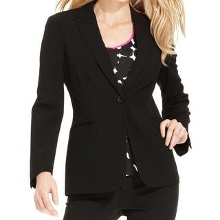 Calvin Klein Womens One-Button Blazer Single Vent Peak Collar