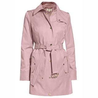 Michael Kors Womens Blush Pink Hooded Belted Trench Coat Jacket