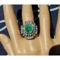 4.75TCW 14K Natural Emerald & Diamond One of a Kind Estate Deco Cocktail Ring - Thumbnail 2