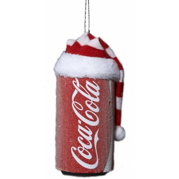 "3.5"" Coca-Cola Can with Red and White Striped Santa Hat Christmas Ornament"