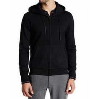 Kenneth Cole NEW Black Mens Size Large L Full Zip Hooded Sweater
